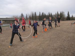 Balance drill race; found objects relay. March 39, 2016