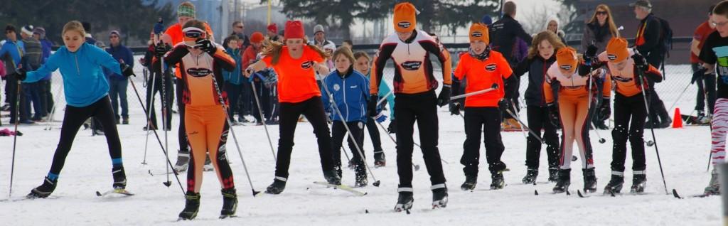Kids participate in the Track Attack ski program